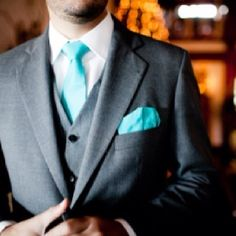 TIFFANY BLUE GROOMS ATTIRE | Love the dark gray with this blue
