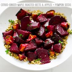 Ginger-Citrus-Maple Roasted Beets & Apples with Pumpkin Seeds. #holiday #beets