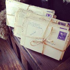 Antique 1940s Letters 3 Bundles : Vintage Shabby Chic Wedding Decor Photo Shoot Prop. $15.00, via Etsy.
