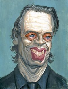 "Steve Buscemi | Celebrity Art | Original acrylic caricature painting on 8.5""x11.5"" illustration board by Zack Wallenfang. Completed in 2010. Signed upon request. Price: $500 www.zackwallenfang.com"