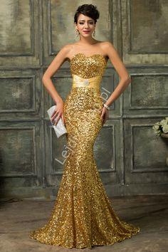 Gold marvelous long dress. Złota cekinowa suknia wieczorowa | złote suknie karawałowe, estradowe