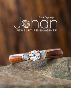 Jewelry by Johan's engagement rings can be customized with unique inlay materials and gemstones. #JewelrybyJohan Wood Engagement Ring, Three Stone Engagement Rings, Three Stone Rings, Forever One Moissanite, Free Ring, At Least, Beaded Bracelets, Gemstones