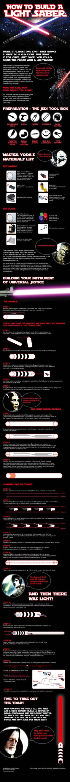 How to build an l.e.d. Lightsaber (Infographic)