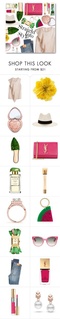"""""""Emerald/Fuchsia"""" by danali ❤ liked on Polyvore featuring Gucci, Too Faced Cosmetics, rag & bone, Charlotte Olympia, Yves Saint Laurent, Estée Lauder, Tory Burch, Citizens of Humanity, Escalier and Victoria's Secret"""