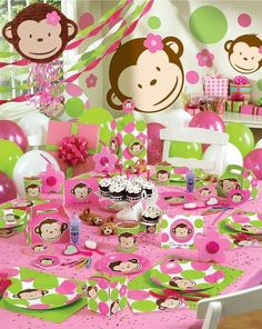 Pink Mod Monkey Birthday Party Table with Pink Mod Monkey party supplies, decorations, pinata and mylar balloons Girl Monkey Birthday, Monkey Birthday Parties, Baby Girl First Birthday, Unique Birthday Party Ideas, 1st Birthday Party Themes, Ideas Party, Shower Bebe, First Birthdays, Decoration