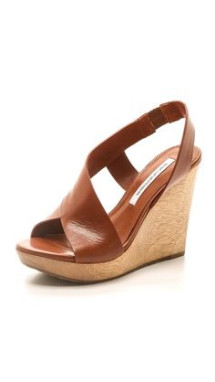 da1f0b44e89 Diane von Furstenberg Sunny Wedge Sandals. Leather Sandals