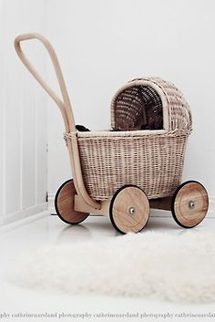 My doll's pram was made by my dad from a shopping basket [without a handle]. It was pretty basic but it did the job and I was none the wiser. Little People, Little Ones, Dolls Prams, Baby Carriage, Nursery Inspiration, Kids Furniture, Vintage Toys, Baby Love, Kids Playing