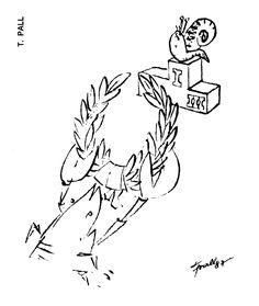 Caricatura de T. PALL, publicata in almanahul PERPETUUM COMIC '97 editat de URZICA, revista de satira si umor din Romania