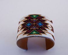 Beaded Geometric Design Cuff Bracelet in Dark GoldBlackReds