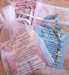 Baptism ~ Joint Boy/Girl ~ Favors ~ Rosaries in Mini Organza Bag and Card ($3.39)
