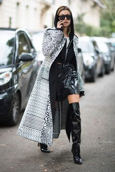 Hailey black patent leather skirt and thigh boots