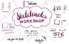 Sketchnotes Workshop! Einen ganzen Tag lang werden wir zusammen kritzeln und eure ersten eigenen Sketchnotes erstellen! Du lernst die 5 Grundelemente, versc