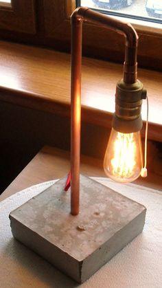 pipe lamp home depot Cement Pots, Concrete Cement, Concrete Design, Concrete Furniture, Lampe Tube, Diy Luminaire, Copper Lamps, Industrial Lamps, Beton Design