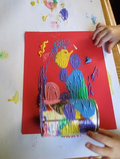 Can painting. Fun, out of the box preschool art project.