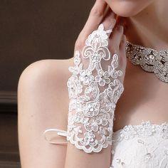 bride wedding beaded beaded lace gloves hook finger gloves wedding gloves new short section Bride Gloves, Wedding Gloves, Lace Gloves, Dress Gloves, Fingerless Gloves, Crochet Gloves, Cotton Gloves, Leather Gloves, Crochet Lace