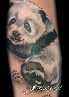 Panda And Grey Bamboo Tree Tattoos For Women photo - 5