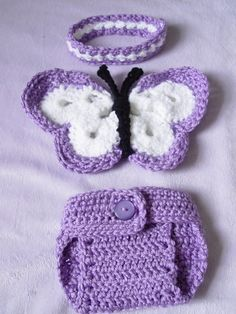 Newborn Crochet Butterfly Wings, DIaper cover, headband Set