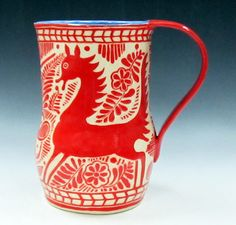 Sgraffito Pitcher, Red and White by The Clay Bungalow - $98  Cocktail hour! This pitcher from The Clay Bungalow on Etsy is just begging for ...