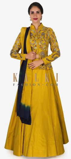 Buy Online from the link below. We ship worldwide (Free Shipping over US$100)  Click Anywhere to Tag Yellow skirt and top embellished with cut dana and zari embroidery work only on Kalki Indian Dresses, Indian Outfits, Frocks And Gowns, Yellow Lehenga, Indian Designer Wear, Punjabi Suits, Anarkali, Salwar Kameez, Indian Fashion
