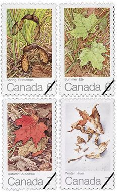 The maple in four seasons, by Alma Duncan for Canada Post, 1971.  Via the Canadian Design Resource.