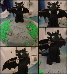 how to train your dragon cake. #Toothless with stick writing Happy Birthday in dirt. #httyd2