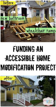 If you are having to make your home accessible for a child in a wheelchair you're probably looking at major construction. Home modification projects are pricey. We'll show you how to find funding for your home modification project. Handicap Ramps, Handicap Accessible Home, Ada Accessible, Handicap Bathroom, Aging In Place, Home Remodeling, Home Improvement, New Homes, House Design
