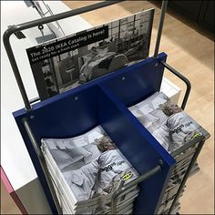 This IKEA Mobile Catalog Stack Stand provides both copious quantity and high mobility in a small easy-to-move footprint. Retail Fixtures, Store Fixtures, Ikea Mobile, Ikea New, New Cabinet, Shopping Day, Catalog, Bookcase, Literature