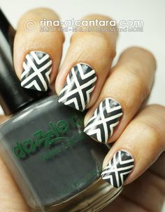 Crossed Out Nail Art on Dazzle Dry Joan's Armor