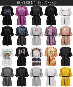 Boyfriend T-Shirt-Kleid von Elliesimple - Sims - Welcome Haar Design The Sims 4 Pc, Sims Four, Sims 4 Mm, Sims 4 Mods Clothes, Sims 4 Clothing, Vêtement Harris Tweed, Sims 4 Children, Sims 4 Collections, Sims 4 Dresses