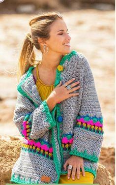 Gilet Crochet, Crochet Cardigan Pattern, Crochet Jacket, Crochet Blouse, Crochet Poncho, Easy Crochet, Crochet Stitches, Crochet Patterns, Knit Cowl