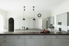 Mad About . Beautiful Kitchens plain english kitchen with grey cupboards and enamel pendant lighting Mad About . Beautiful Kitchens plain english kitchen with grey cupboards and enamel pendant lighting Classic Kitchens, Kitchen Styling, Plain English Kitchen, Swedish Style Kitchen, Adams Homes, Home Kitchens, Classical Kitchen, Swedish Kitchen, Beautiful Kitchens