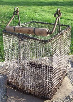 old wire basket - Amazing! Why can't I find one of these at some random  barn sale?!? ;)