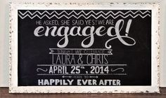 Custom Engagment Party Chalkboard Sign Custom by TreanneSchuttArt, $20.00