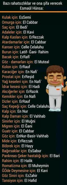 Bazi hastaliklar ve ona sifa verecek esmaul husna, holy names of Allah in Turkey Islamic Quotes, Islamic Dua, 6 Chakra, Religion, Allah Islam, Quran, Diy And Crafts, Prayers, Health Fitness