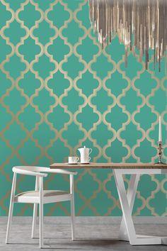 Marrakesh Wallpaper in Honey Jade via Burke Decor