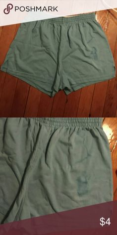 *2 FOR $6* Blue Soffe Shorts Comfy Soffe shorts! Sky blue with slightly darker blue stain on left leg. Elastic band size large, fits me at a size 6 quite comfortably with extra breathing room.  *2 for $6*  check out other items with the same label to pair this with for discounts! Soffe Shorts