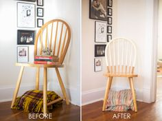 Dipped wooden chairs - makes them way more interesting - Dipped wooden chairs – makes them way more interesting Informationen zu Dipped wooden chairs – m - Old Wood Table, Wooden Dining Chairs, Kitchen Chairs, Dining Room, Wooden Chair Makeover, Chair Design Wooden, Farmhouse Chairs, Compact Table And Chairs, Hanging Chair