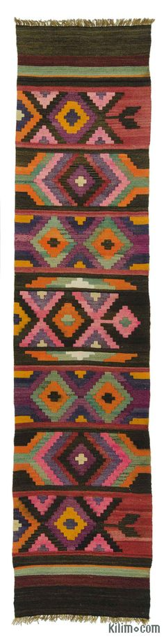 Vintage tribal kilim runner rug handwoven in Turkey in 1960's. This lovely kilim is in very good condition.