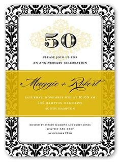 Wedding Anniversary Invitations: Devoted Damask, Rounded Corners, Yellow