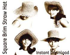 Free 1960's Crochet Pattern - Square Brimmed Straw Hats to Crochet