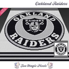 Oakland Raiders crochet blanket pattern; knitting, cross stitch graph; pdf download; NFL; no written counts or row-by-row instructions by TwoMagicPixels, $5.99 USD