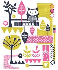 'Retro Owl' by Caroline Pratt