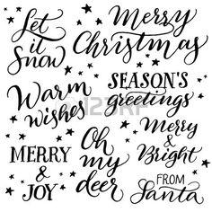 Scritto a mano calligrafia Natale Set di mano lettering Buon Natale Let it snow un caloroso augurio Archivio Fotografico