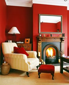Living Room with Red Walls. 20 Living Room with Red Walls. Red Walls Traditional Living Room In High Gloss Cherry Red Red Living Room Decor, Red Wall Decor, Living Room Mirrors, Paint Colors For Living Room, Living Room With Fireplace, My Living Room, Living Room Designs, Cozy Living, Red Living Rooms