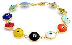 Bling Jewelry Gold Plated 925 Silver Multi Color Evil Eye Bead Bracelet 7.25 Inch.