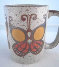 Vintage Butterfly Coffee Mug Japan? Orange Gold Brown