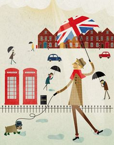 Blanca Gomez Illustration for Sunday Telegraph's Seven magazine.Editorial Editorial illustration - I could fill a room london prints and never tire of looking at them. Umbrella Art, Under My Umbrella, Saul Bass, Travel Illustration, London Illustration, Parasols, London Art, Room London, Arte Pop