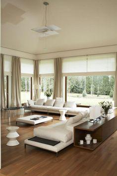 Elegant Wohnzimmer Modern Weiße Polstermöbel Holzboden