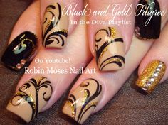 Black And Gold Glitter Nails Design Bling Filigree Nail Art Tutorial