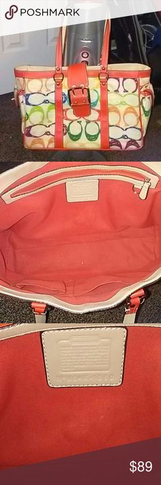 COACH MULTI COLOR PURSE AUTHENTIC!  INSIDE IN EXCELLENT CONDITION.  OUTSIDE JUST NEEDS CLEANED.  WEAR ON CORNERS AS SHOWN IN PIC. BAG MEASURES 14 INCHES WIDE 10 INCHES TALL.  HANDLES ARE 8 INCHES FROM THE TOP.  HAS TWO OUTSIDE POCKETS ON THE SIDES WITH TURN CLASP CLOSURE. PRICE REFLECTS FLAWS. Coach Bags